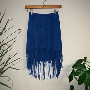 Blue Tied Fringe Skirt